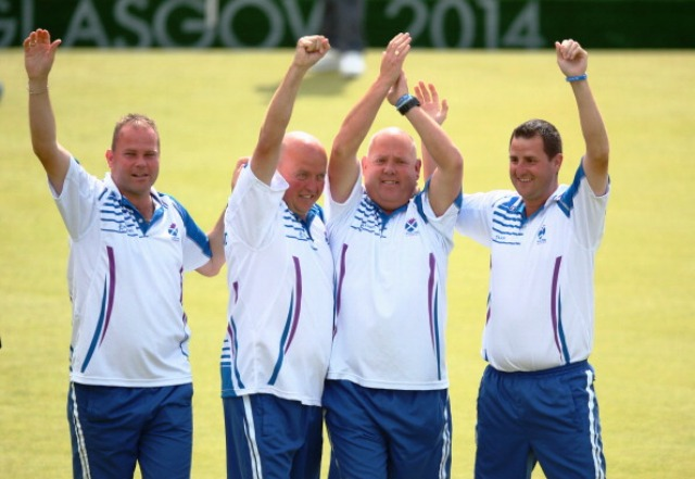 The victorious Scotland mens fours team at the lawn bowls