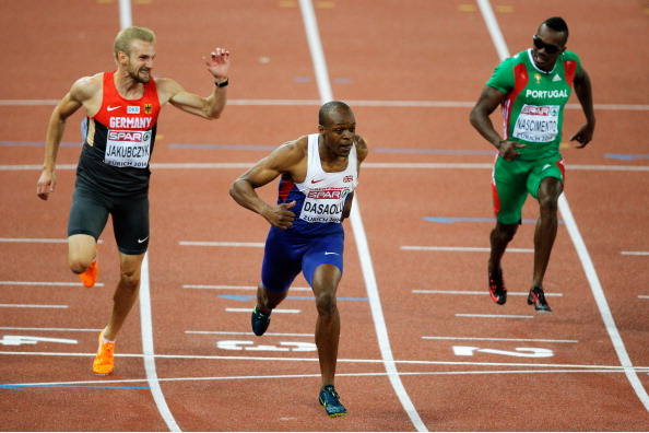 James Dasaolu wins the 100m at the European Championships in Zurich ©Getty Images