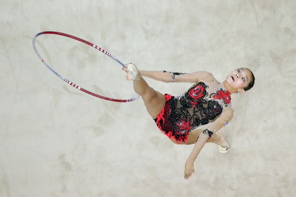 Laura Zeng of the United States competed in qualification for the rhythmic gymnastics individual all-around ©Getty Images