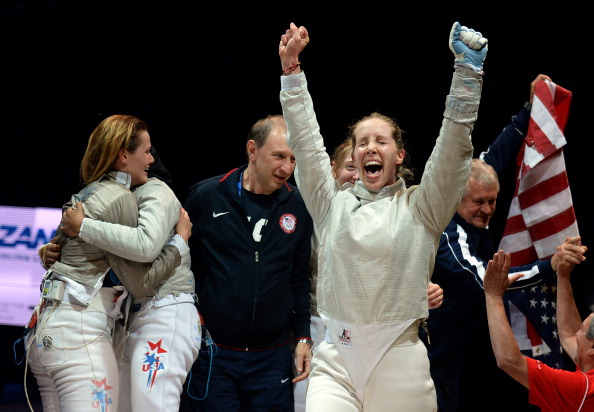 Mariel Zagunis celebrates US World Championships gold in the team sabre competition last month ©Getty Images
