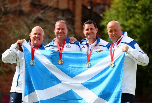 Marshall led the fours team to gold which was one of three Commonwealth Games titles for Scotland's men's bowlers ©Getty Images