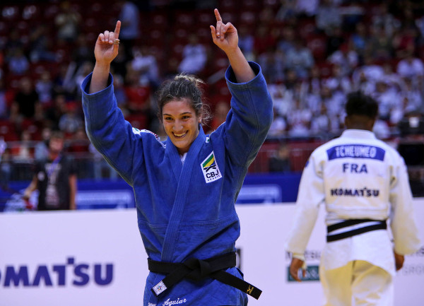 Brazil's Mayra Aguiar celebrates victory in the women's under-78kg class ©IJF