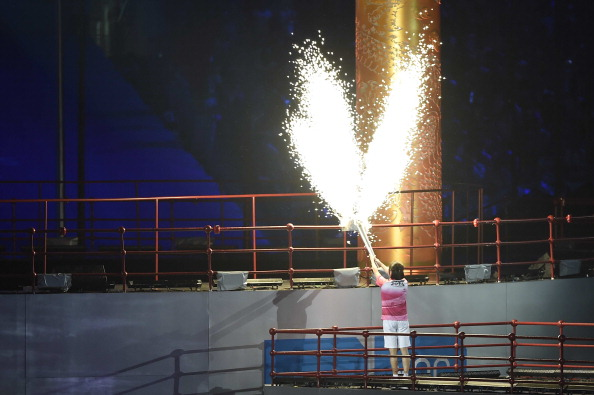 Olympic diving champion Chen Ruolin lit the Cauldron ©ChinaFotoPress via Getty Images
