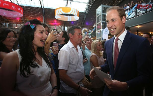 The Duke of Cambridge meeting Glasgow 2014 staff during the party ©Glasgow 2014