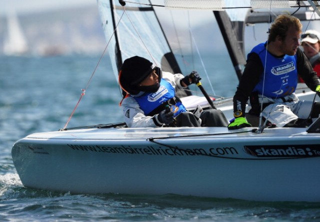 Reigning champions Alexander Rickham and Niki Birrell lie in second place overal after day one of the Disabled Sailing Combined World Championships ©Getty Images
