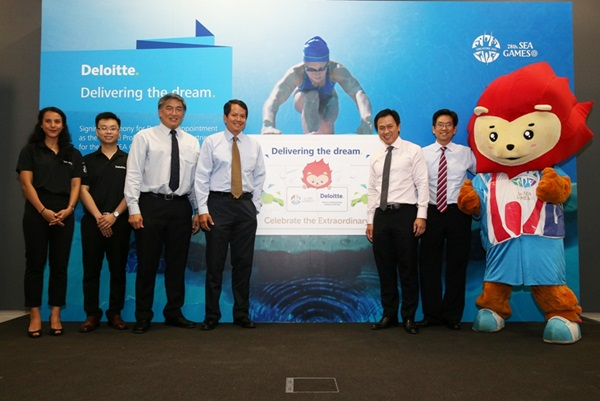 Representatives from Singapore 2015 and Deloite at the unveiling of the partnership ©Sport Singapore
