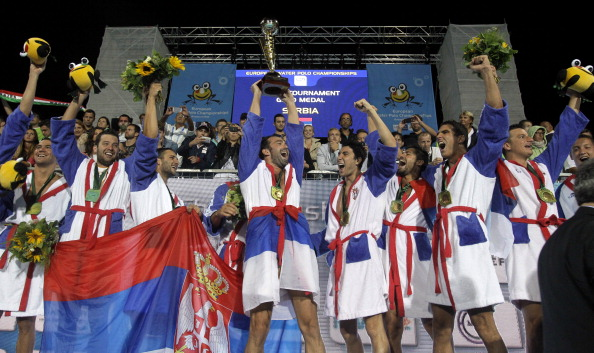 Serbia, pictured here winning the European title last month, are now World Cup champions ©AFP/Getty Images