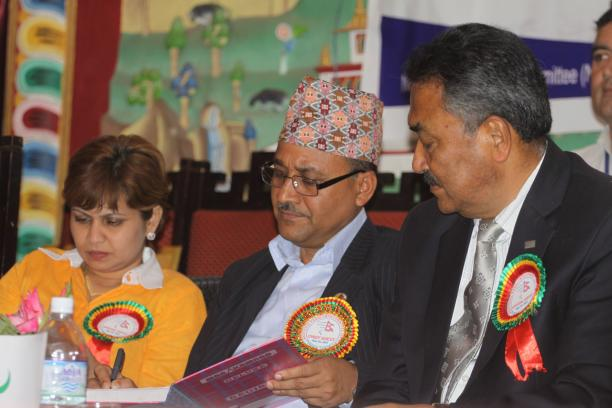 Surendra Bahadur Basnyat (centre) has been re-elected as the President of the Nepal Paralympic Committee ©NPCNepal