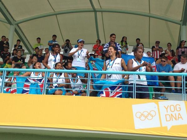 The Fiji rugby sevens fans look in high spirits despite the sides recent loss to Kenya ©Twitter