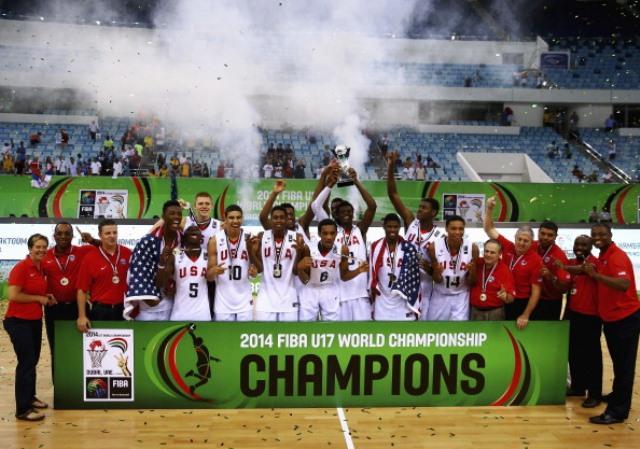 The United States celebrate a third successive FIBA Under-17 World Championship win in Dubai ©Getty Images