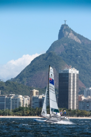 Christ the Redeemer has provided an iconic backdrop for sailors competing in the Rio 2016 test event in Guanabara Bay, where dead dogs, cars and part of a wall have been among the sewage that the competitors have had to battle against ©ISAF
