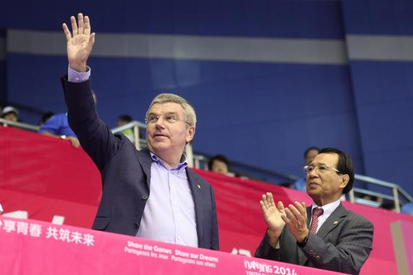 Thomas Bach checked in for the first day of wrestling action ©Twitter