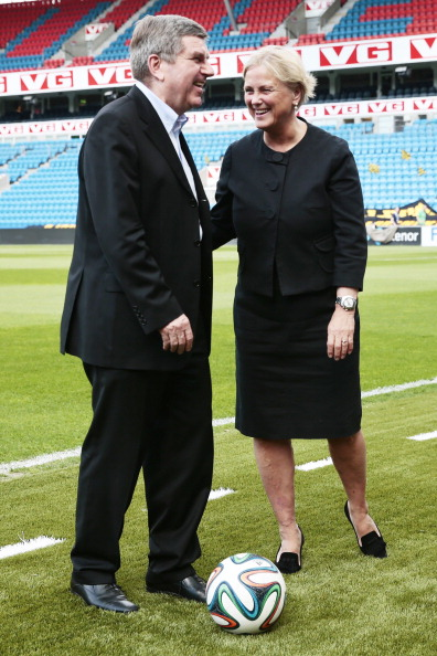 Norway's Culture and Sports Minister Thorhild Widvey meeting Thomas Bach during the International Olympic Committee's President's visit to Oslo in May ©AFP/Getty Images