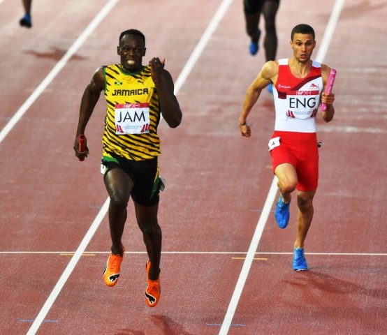 Usain Bolt powers to gold in the men's 4x100m final at Glasgow 2014 on the track that will be relocated to Grangemouth Stadium in Falkirk ©Getty Images
