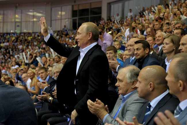 Vladimir Putin received a huge ovation from the Russian crowd when he arrived for the World Judo Championships ©World Judo Championships 2014 Chelyabinsk
