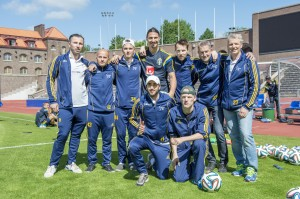 Zlatan Ibrahimović, pictured top centre, paid for the Swedish team to travel to Brazil for the World Football Championships ©INAS
