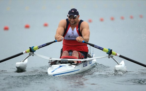 Britain's 2008 Paralympic champion Tom Aggar made best use of the calm conditions in the AS single sculls at the FISA World Rowing Championships  ©Getty Images