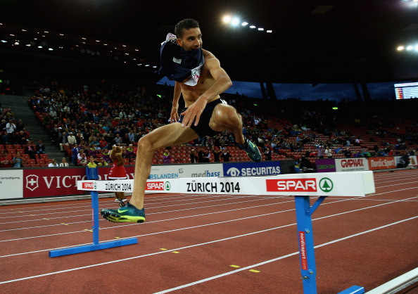 Mehiedine Mekhissi-Benabbad clears the last barrier en route to a dq in the European 3000m steeplechase final ©Getty Images