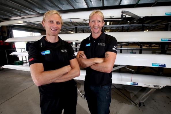 Hamish Bond (left) and Eric Murray, New Zealand's all-conquering men's pair, have made a winning debut in the men's coxed pair ©Getty Images