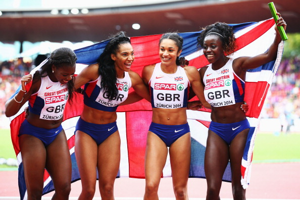 Britain's 4x100m women's team, pictured after winning European gold this month, beat Jamaica and the United States in Zurich tonight ©Getty Images
