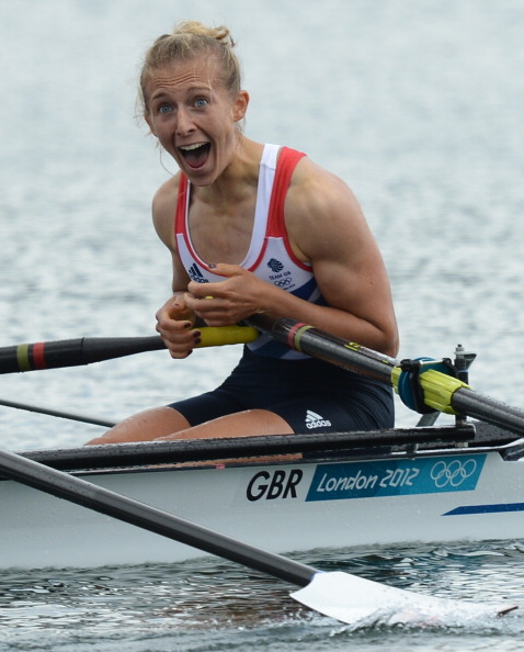 Kat Copeland, pictured after winning the London 2012 Olympic title with Sophie Hosking in the lightweight double sculls, failed to reach this year's world championships final with her new partner, Imogen Walsh ©AFP/Getty Images