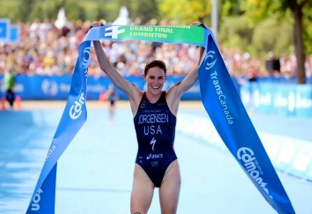 Gwen Jorgensen ended a record breaking season with victory at the World Triathlon Series Grand Final in Edmonton ©ITU