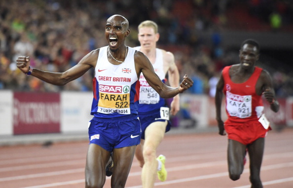 Mo Farah shows his joy and relief as he regains the European 10,000m title in Zurich ©AFP/Getty Images