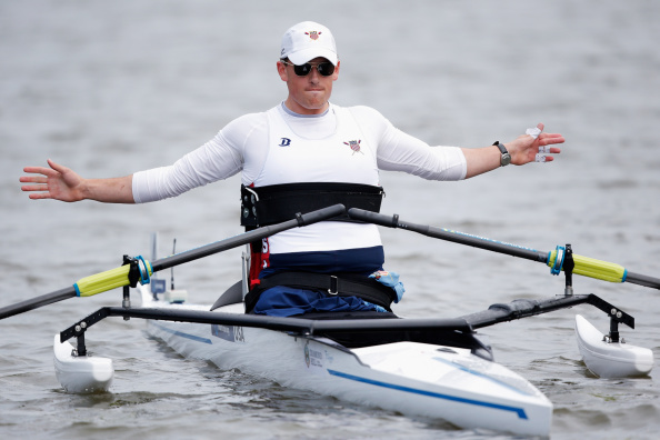 Steve Haxton of the United States was a repechage winner in the AS single sculls on the third day of the World Rowing Championships in Amsterdam ©Getty Images