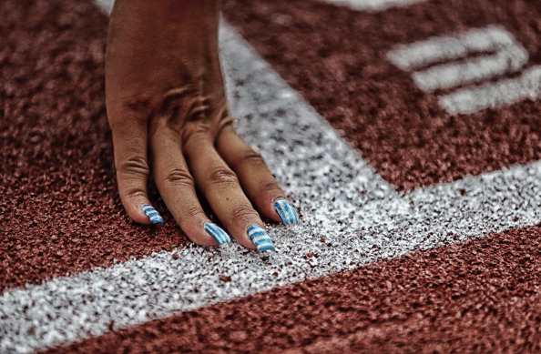 A Greek athlete practising today on the newly laid track at the Letzigrund Stadium in Zurich©Getty Images
