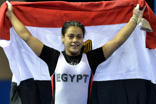 Sara Ahmed celebrates her dominant weightlifting victory ©Nanjing 2014