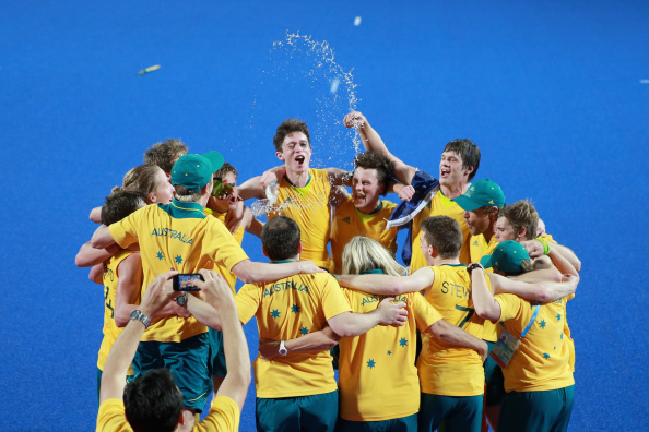 Australia celebrate victory in another hockey5s final decided by a shootout ©Getty Images