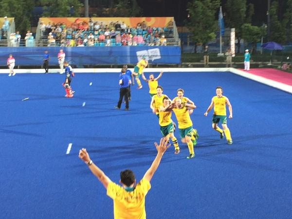 Australia celebrate victory in the men's hockey5s final ©Twitter