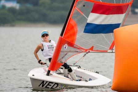 Dutch sailor Odile Van Aanholt secured a pair of bullets in today's sailing ©ISAF