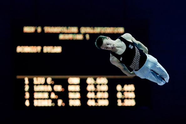 Gold medalist Dylan Schmidt of New Zealand competes in the men's trampoline gymnastics final  ©Getty Images