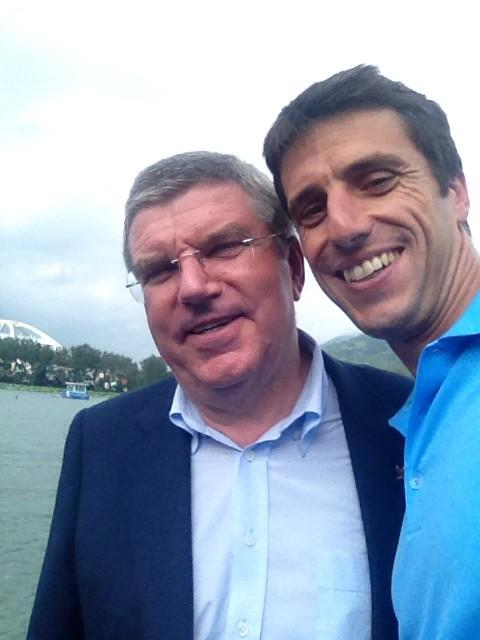 IOC President Thomas Bach with canoeing legend Tony Estanguet ©Twitter