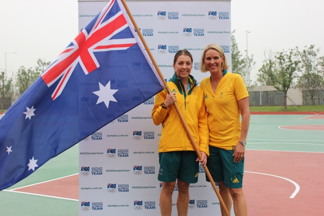 Jessica Thorton pictured with Australian Chef de Mission, Susie O'Neill ©AOC