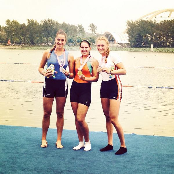 Krystsina Staraselets celebrates her gold in the women's singles sculls ©Twitter