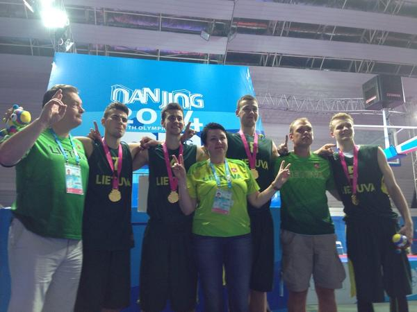 Lithuania celebrate their thrilling gold medal ©Nanjing 2014