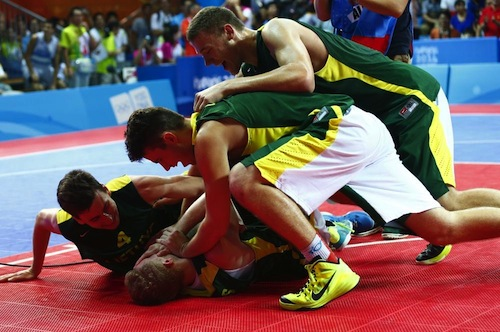 Lithuania following their overtime basketball victory ©Nanjing 2014