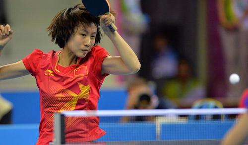 Liu Gaoyang teamed up with Fan Zhendong to win mixed team gold for China at Nanjing 2014 ©Nanjing 2014