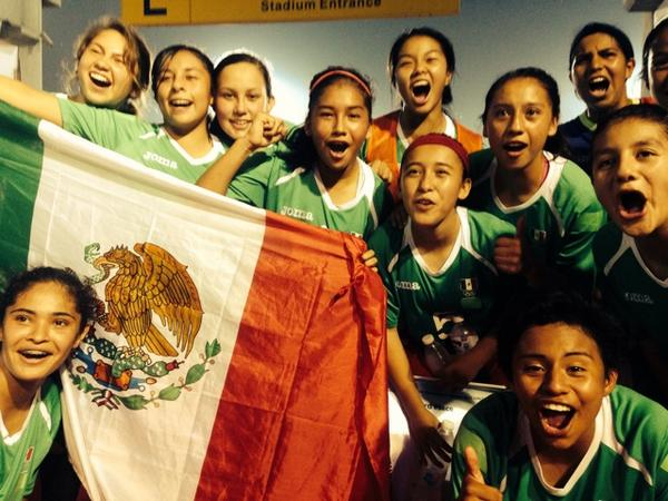 Mexico celebrate the bronze medal in football ©Nanjing 2014