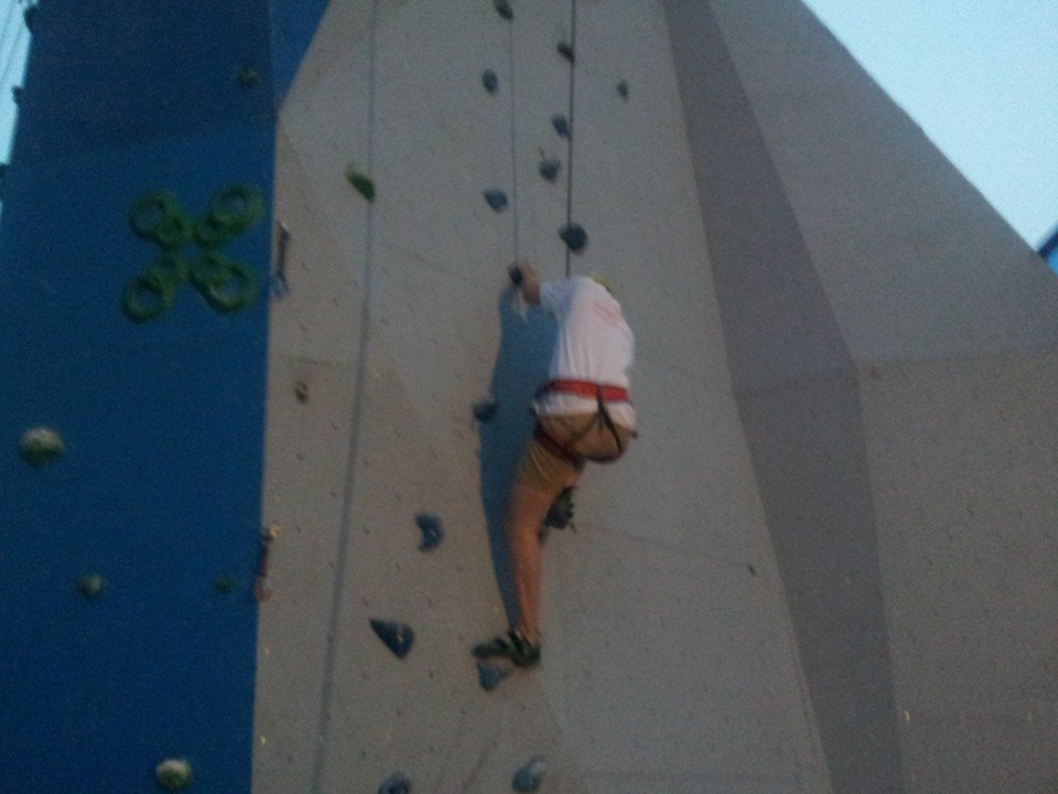 Paul Osborne powering up the climbing wall