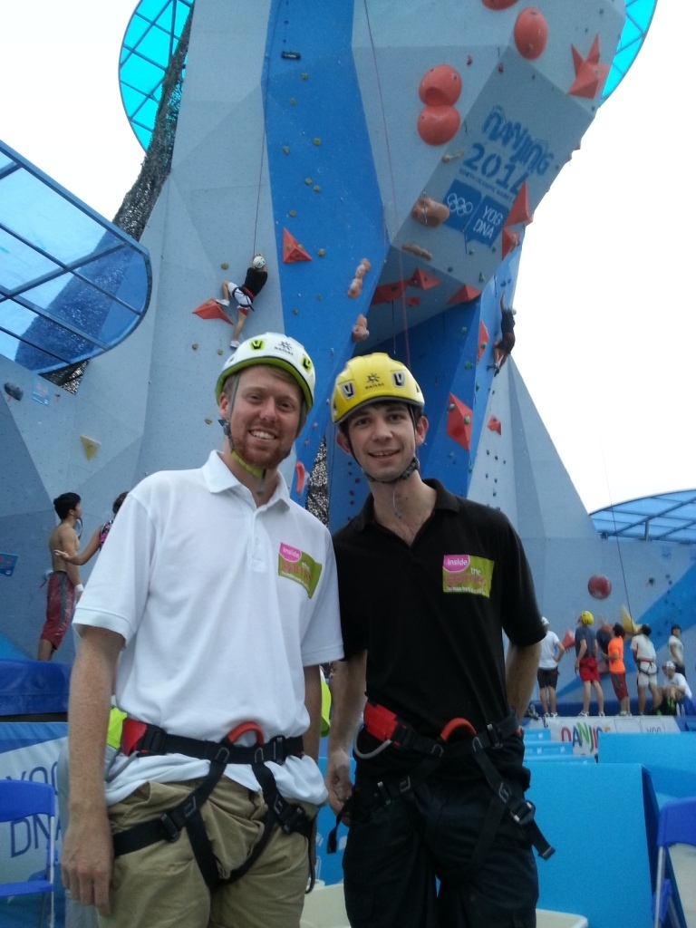 Reporters Nick Butler and Paul Osborne show Nanjing how not to climb a wall... ©ITG