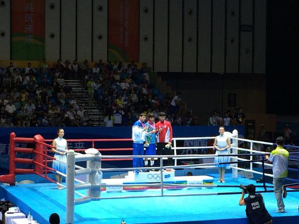 Rufat Huseynov takes gold in the men's light flyweight boxing competition ©Twitter