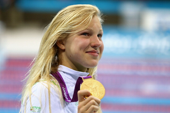 Ruta Meilutyte celebrates gold at London 2012 ©Getty Images