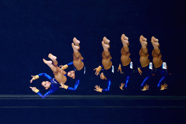 Seda Tutkhalyan performs a trick en route to silver in the floor exercise contest ©Getty Images