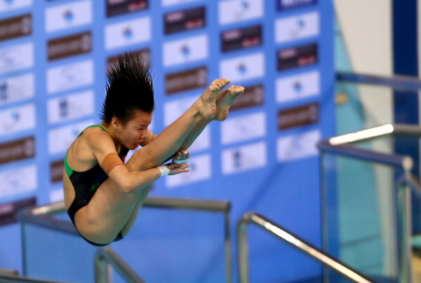 Shengping Wu leads the way in the women's 3m springboard after taking gold in the 10m platform ©Getty Images