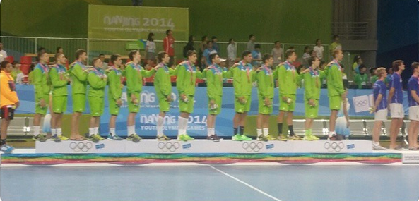 Slovenia on the podium following their handball victory ©Instagram