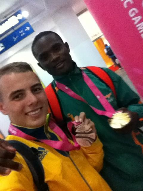 Sydney Siame and Trae Williams, gold and bronze medallists from the men's 100m ©Twitter