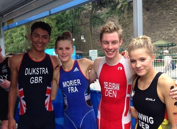 Team Europe 1 after their gold medal winning performance in the mixed relay triathlon ©Twitter